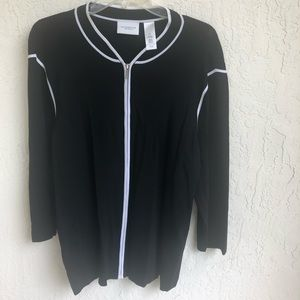 Liz Claiborne Black White Zippered Jacket Top 2X